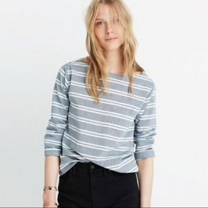 👽Madewell Chambray Herald Striped Top